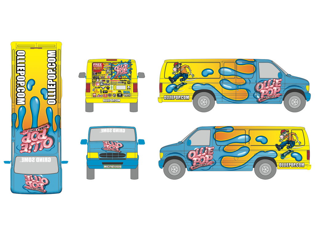 Ollie Pop Bubble Gum Van Illustration / Wrap Design