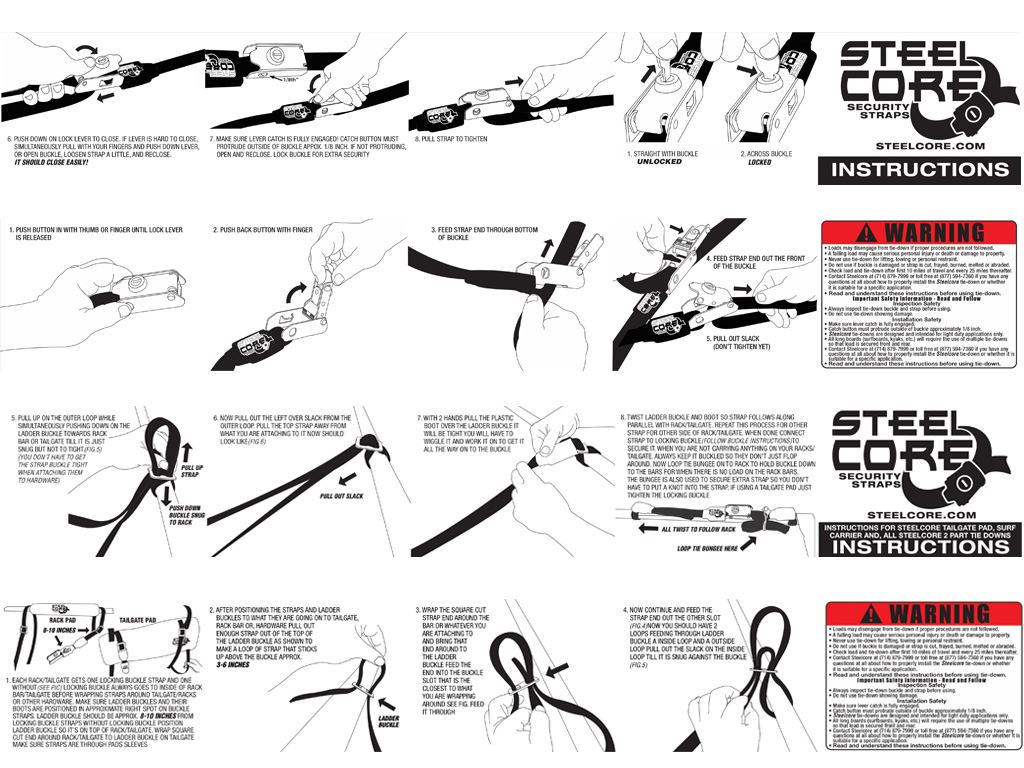 Steelcore Security Straps -  How To Use Illustrations