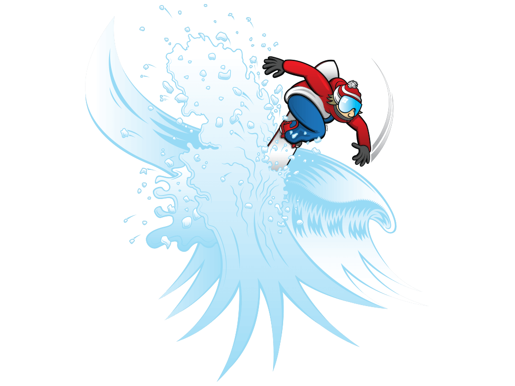 Pow Ninja Snowboarder Vector Illustration